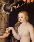 Apple Paintings - Eve offering the apple to Adam in the Garden of Eden and the serpent by Cranach