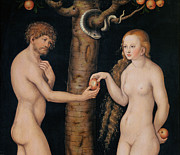 Lucifer Framed Prints - Eve Offering The Apple to Adam In The Garden of Eden Framed Print by The Elder Lucas Cranach