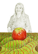 Portrait With Still Life Framed Prints - Eve With Apple 3 Framed Print by Flo Hayes