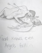 Angels Drawings - Even angels fall by Rebecca Wood