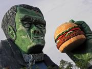 Frankenstein Posters - Even Frankie Loves a Burger Poster by Elizabeth Hoskinson