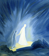 Caring Painting Prints - Even in the darkness of out sufferings Jesus is close to us Print by Elizabeth Wang