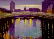 City Hall Painting Framed Prints - Evening - Ha Penny Bridge- Dublin Framed Print by John  Nolan