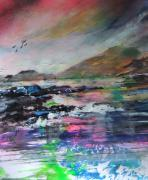 Sea Birds Paintings - Evening Achill Island Ireland by Joyce Garvey