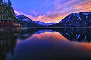 Fallen Leaf Photo Framed Prints - Evening at Fallen Leaf Lake Framed Print by Jacek Joniec