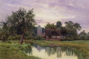 Lovely Pond Prints - Evening at Hemingford Grey Church in Huntingdonshire Print by William Fraser Garden