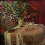 Wine Bottle Paintings - Evening at home by Diane Reeves