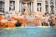 Posters - Evening at Trevi Fountain Poster by