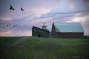 Sat Digital Art - Evening Barn by Melisa Meyers