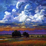 Prairie Sunset Paintings - Evening Clouds Over the Prairie by John Lautermilch