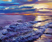 Popular Paintings - Evening Coastline by David Lloyd Glover