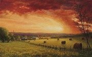 Haybales Painting Prints - Evening Drama Print by Earl Mott