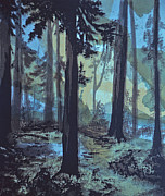 Screen Print Painting Prints - Evening Forest Print by Catherine Foster