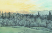 Watercolor Skiing Print Posters - Evening Frost Poster by Anne Havard