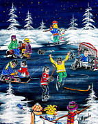 Pond Hockey Paintings - Evening Fun by Jill Alexander