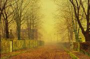 Bare Trees Prints - Evening Glow Print by John Atkinson Grimshaw