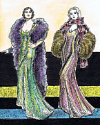 Fashion Plates Prints - Evening Gowns Print by Mel Thompson