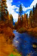 Fly Fishing Digital Art Framed Prints - Evening Hatch on the Metolius Painting Framed Print by Diane E Berry