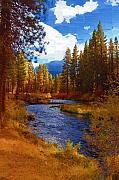 Ribbon Digital Art Prints - Evening Hatch on the Metolius River Painting 2 Print by Diane E Berry