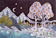 Mountain Tapestries - Textiles Prints - Evening in a Gentle Place Print by Carol Law Conklin