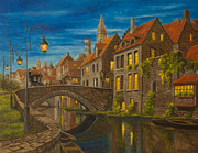 Canal Painting Originals - Evening in Brugge by Charlotte Blanchard