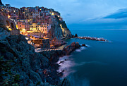 Cinque Terre Metal Prints - Evening in Manarola Metal Print by Mike Reid