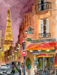 France Paintings - Evening in Paris by Sheryl Heatherly Hawkins