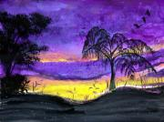 San Juan Paintings - Evening in Purple by Sarah Hornsby