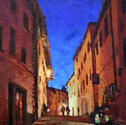 Chianti Tuscany Paintings - Evening in Radda by Don  Reed