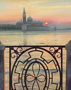 Venecian Posters - Evening in Venice Poster by Helen Parsley