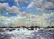 Mooring Painting Posters - Evening Light - Gulf of Morbihan Poster by Christopher Glanville