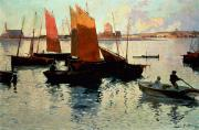 Sailboat Ocean Paintings - Evening Light at the Port of Camaret by Charles Cottet