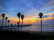 San Clemente Pier Photos - Evening Light  by Carl Jackson