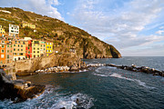 Cinque Terre Posters - Evening Light Riomaggiore Poster by Mike Reid