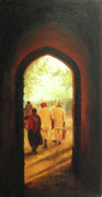 Tamilnadu Paintings - Evening Light by Sathya Sathya