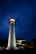Biloxi Framed Prints - Evening Lighthouse Framed Print by Joan McCool