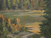 Beaver Pond Paintings - Evening Marsh by Mike Stocker