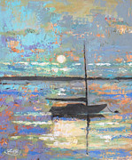 Cape Cod Paintings - Evening Moon by Kip Decker