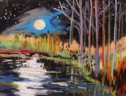 Raw Pastels Posters - Evening Near the Pond Poster by John  Williams