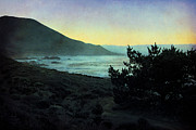 Textured Landscape Prints - Evening on the California Coast Print by Ellen Cotton