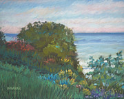 Beach Scenery Pastels Prints - Evening on the Lake Erie Shore Print by Lisa Urankar