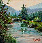 Mountains Painting Originals - Evening on the River plein air by Marie Massey