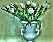 Sage Green Posters - Evening Party Tulips Poster by Marsha Heiken