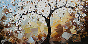 Artist Christine Krainock Prints - Evening Peace White Blossoming Tree of Life Print by Christine Krainock