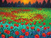 Landscape Greeting Cards Painting Framed Prints - Evening Poppies Framed Print by John  Nolan
