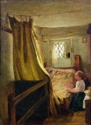 Child Praying Paintings - Evening Prayer  by John Bagnold Burgess