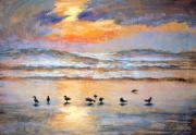 Sunset Seascape Pastels Posters - Evening Prayer Poster by Karin  Leonard