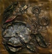 Wild-flower Reliefs Posters - Evening Primrose Poster by Dawn Senior-Trask