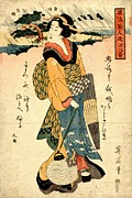 Prints Of Fashion Posters - Evening Rain at Karasaki 1814 Poster by Padre Art