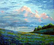 Bluebonnets Prints - Evening Rain Print by David G Paul